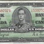 Vua George VI trên tờ 1 đô la Canada seri 1937