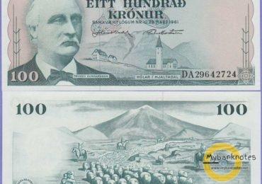 100 kronur Iceland 1961