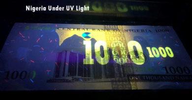 Nigeria – Set tiền dưới ánh đèn UV