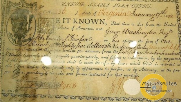 Trái phiếu gốc này do cựu tổng thống Hoa Kỳ George Washingtom ký vào năm 1792, là văn bản tài chính đầu tiên ở Mỹ sử dụng ký hiệu đồng đô la